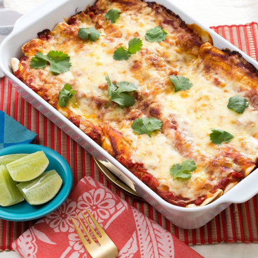 Zucchini & Yellow Squash Enchiladas with Salsa Roja & Monterey Jack Cheese