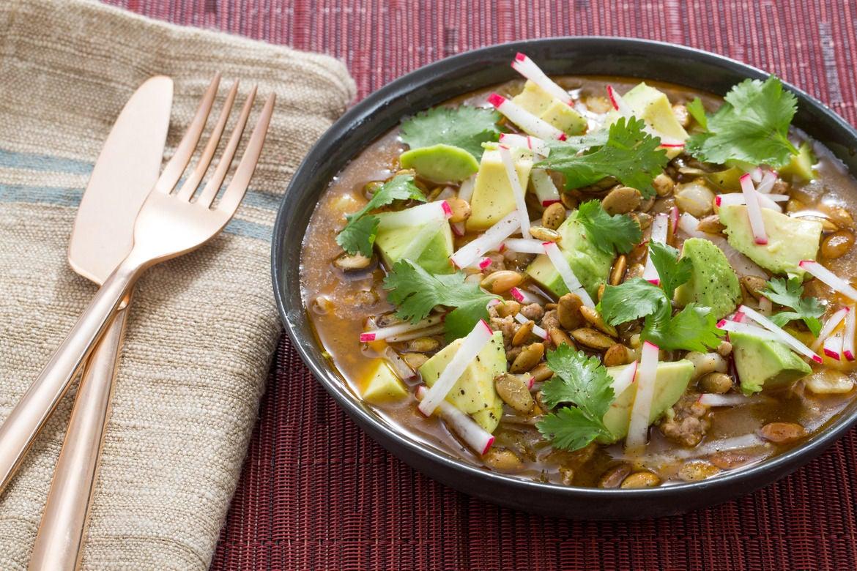 Pork & Tomatillo Pozole with Hominy, Avocado & Radishes