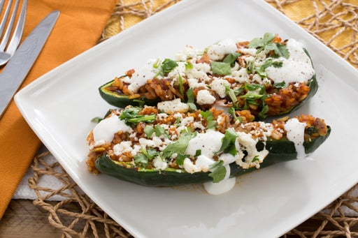 Chiles Rellenos with Spiced Tamarind Rice & Queso Fresco