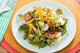 Mexican Chopped Salad with Queso de Freir, Chayote Squash & Citrus Vinaigrette