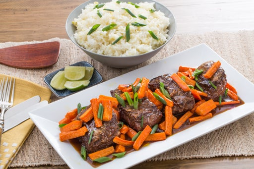 Hoisin & Ponzu-Glazed Steaks with Roasted Carrots & Garlic-Ginger Rice