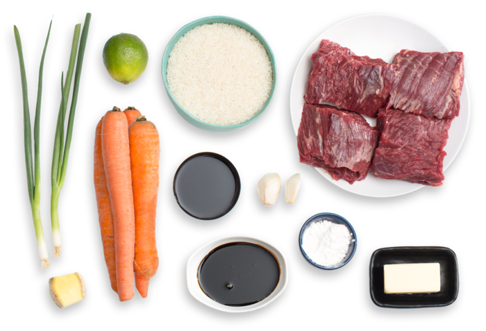 Hoisin & Ponzu-Glazed Steaks with Roasted Carrots & Garlic-Ginger Rice  ingredients
