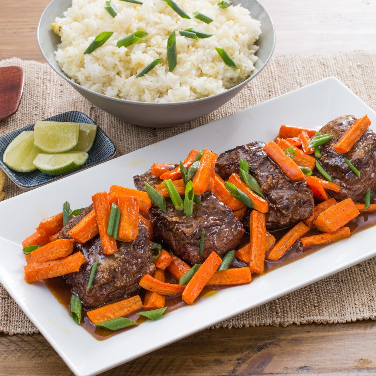 Hoisin & Ponzu-Glazed Steaks with Roasted Carrots & Garlic-Ginger Rice