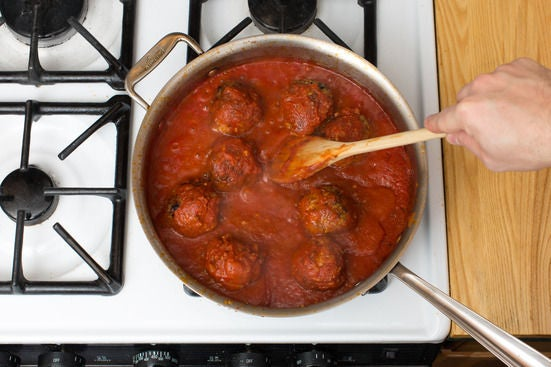 Make the tomato sauce & finish the meatballs: