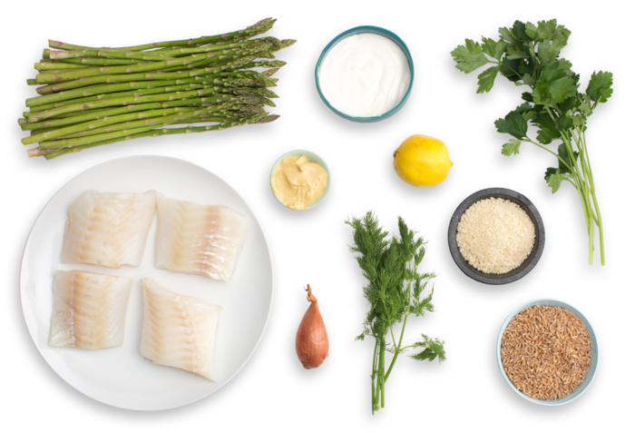 Panko-Crusted Cod with Roasted Asparagus & Creamy Farro Salad  ingredients