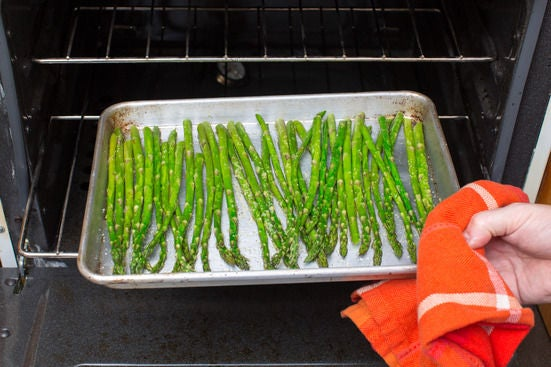 Roast the asparagus: