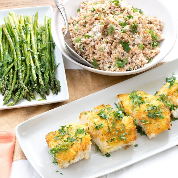Panko-Crusted Cod with Roasted Asparagus & Creamy Farro Salad