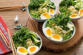Spring Miso Ramen with English Peas, Pea Shoots & Soft-Boiled Eggs