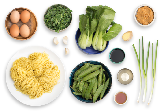 Spring Miso Ramen with English Peas, Pea Shoots & Soft-Boiled Eggs ingredients