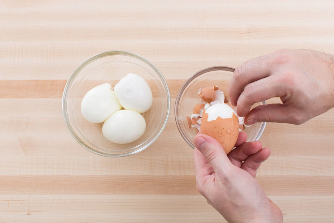 Soft-boil the eggs: