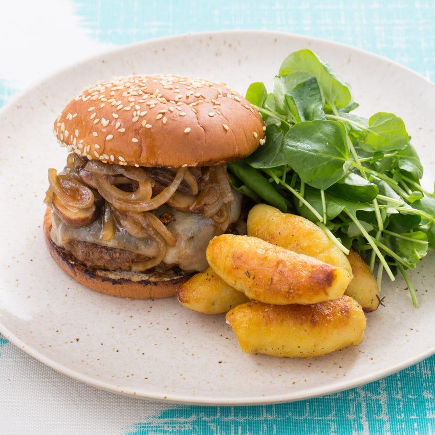 Mushroom & Swiss Burger with Pan-Seared Fingerling Potatoes