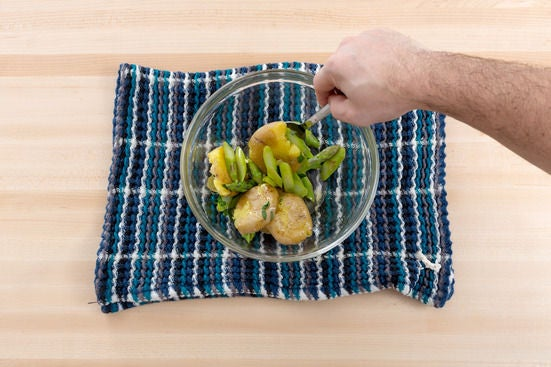 Cook the potatoes & asparagus:
