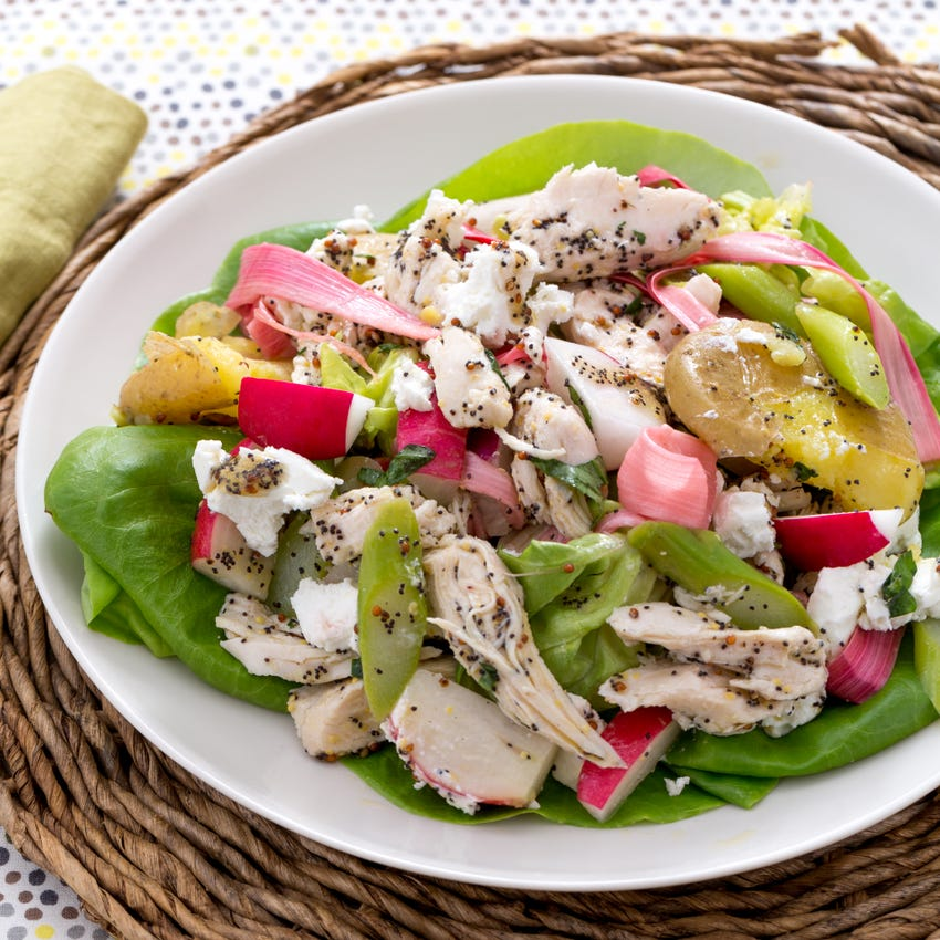 Hearty Chicken Salad with New Potatoes, Pickled Rhubarb & Goat Cheese