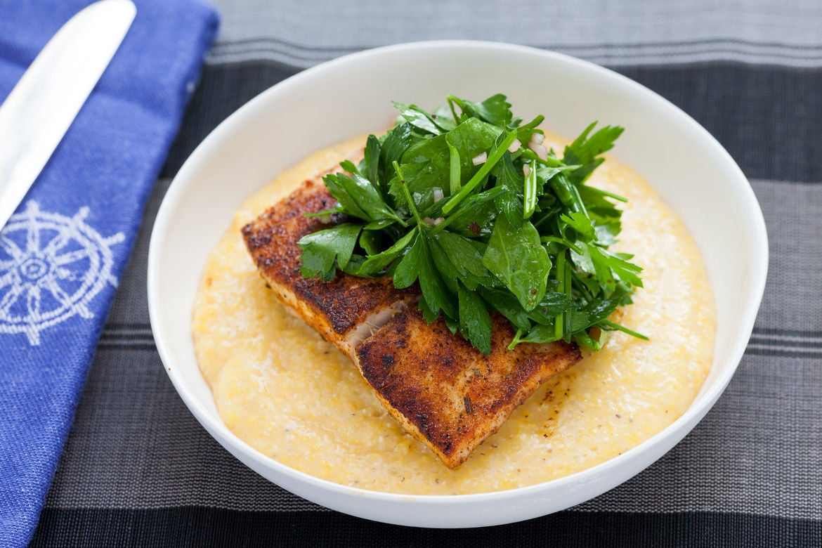 Recipe blackened drum over cheddar cheese grits with for Drum fish recipes