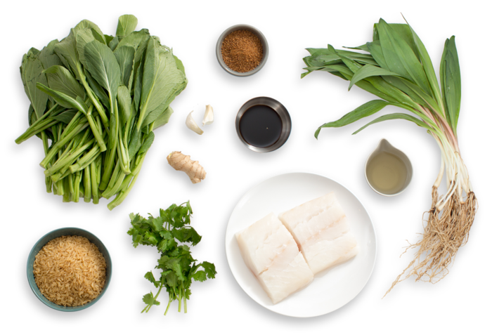 Steamed Cod with Pickled Ramps & Yu Choy ingredients