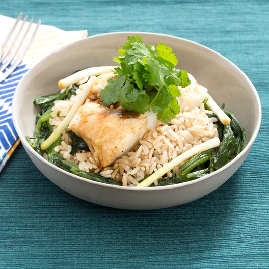 Steamed Cod with Pickled Ramps & Yu Choy