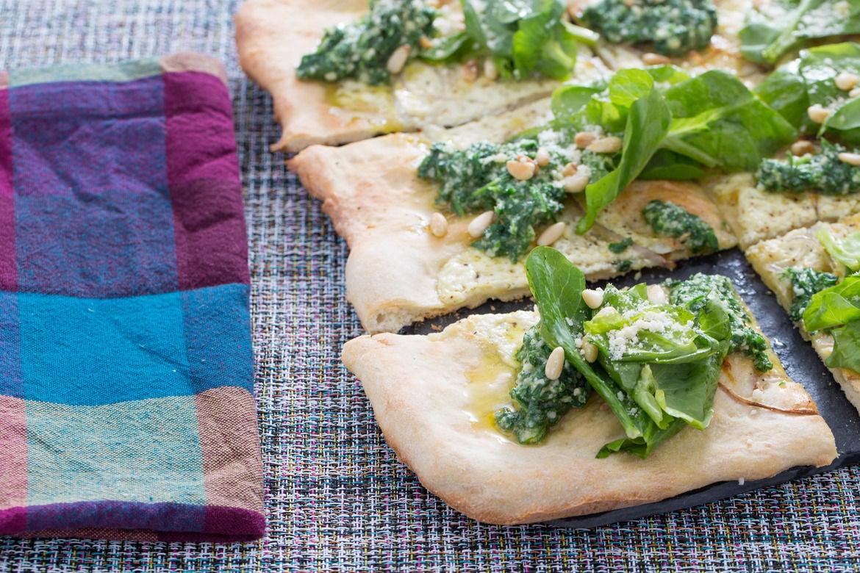 Blue apron is a ripoff - White Pizza With Arugula Pesto Pine Nuts Pea Tips