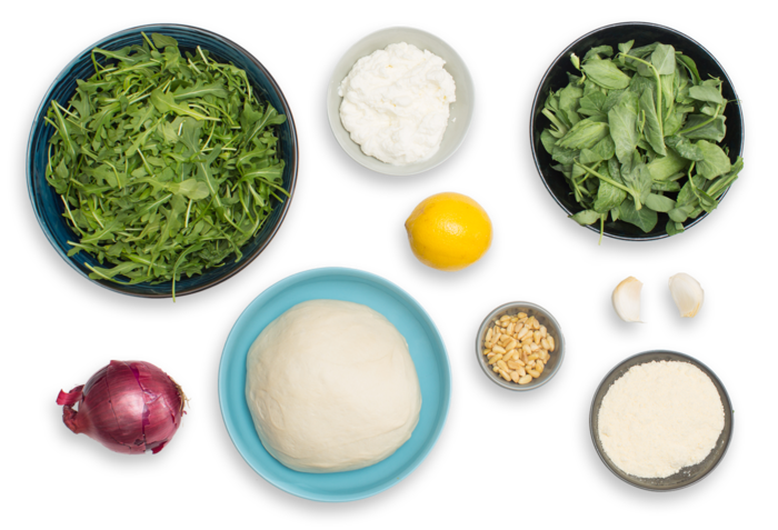 White Pizza with Arugula Pesto, Pine Nuts & Pea Tips ingredients
