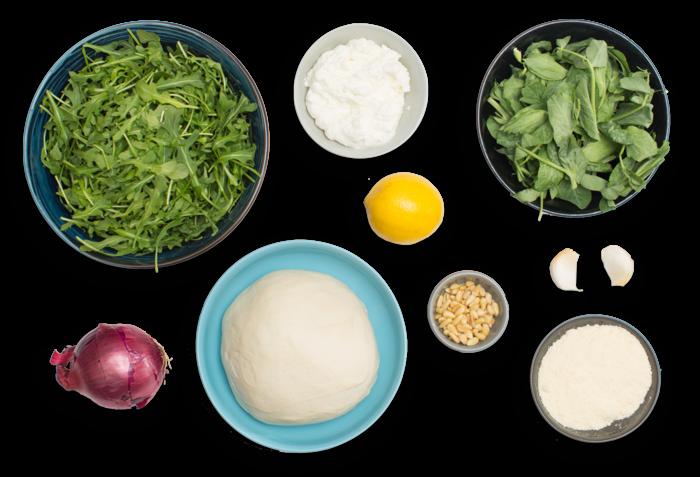 White Pizza with Arugula Pesto, Pine Nuts & Pea Tips ingredients