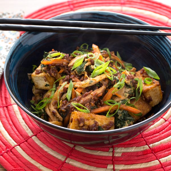 Tofu & Red Rice Stir-Fry with Kale & Shiitake Mushrooms