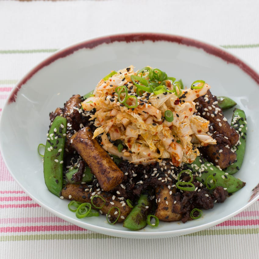 Beef Dukbokki with Quick Kimchi & Sugar Snap Peas