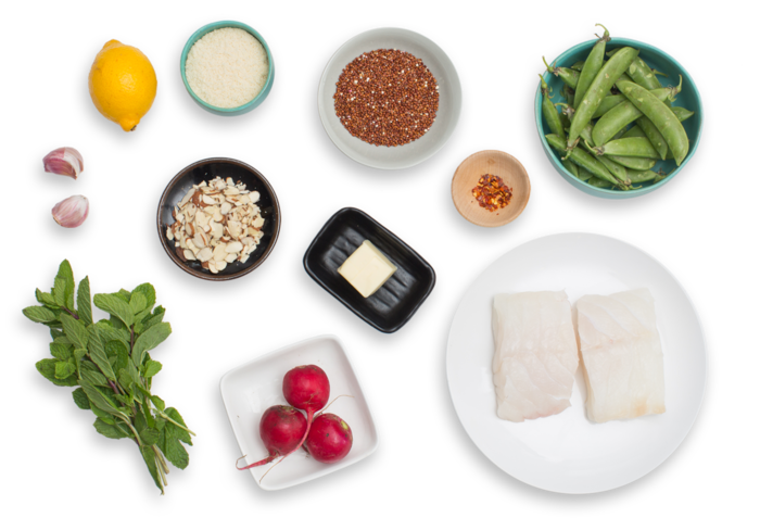 ... -Crusted Cod with Snap Peas & Radish-Red Quinoa Salad - Blue Apron