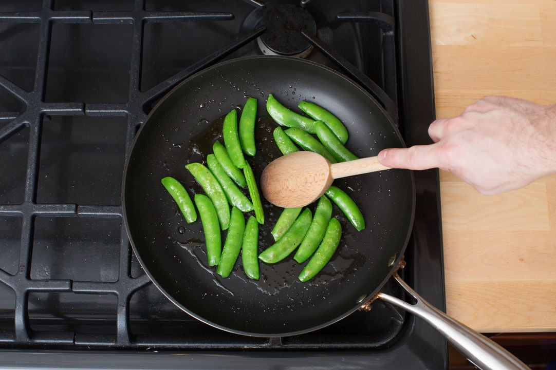 Cook the snap peas & plate your dish: