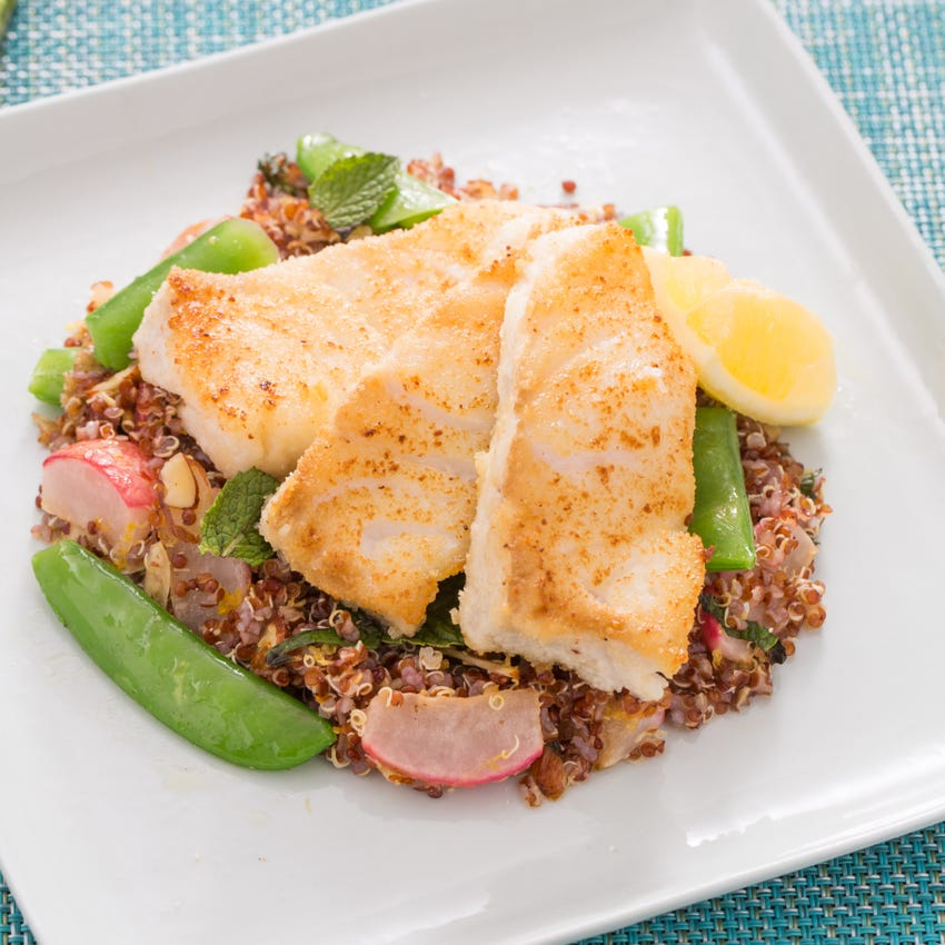 Almond-Crusted Cod with Snap Peas & Radish-Red Quinoa Salad