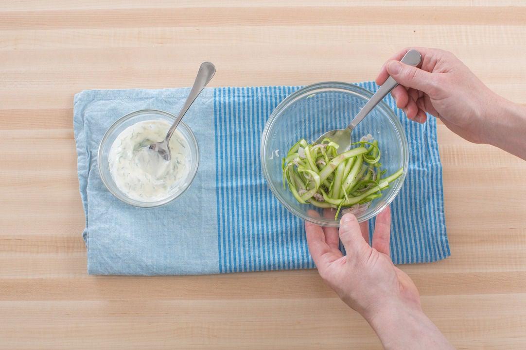 Make the dill crème fraîche & asparagus salad: