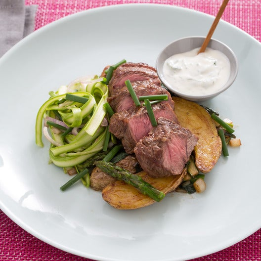 Flat Iron Steaks with Ramps, Fingerling Potatoes & Shaved Asparagus Salad
