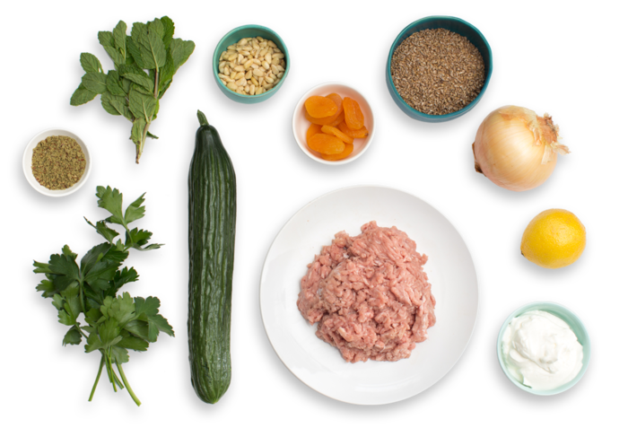 Turkey Kibbeh with Cucumber Salad & Mint-Yogurt Sauce ingredients