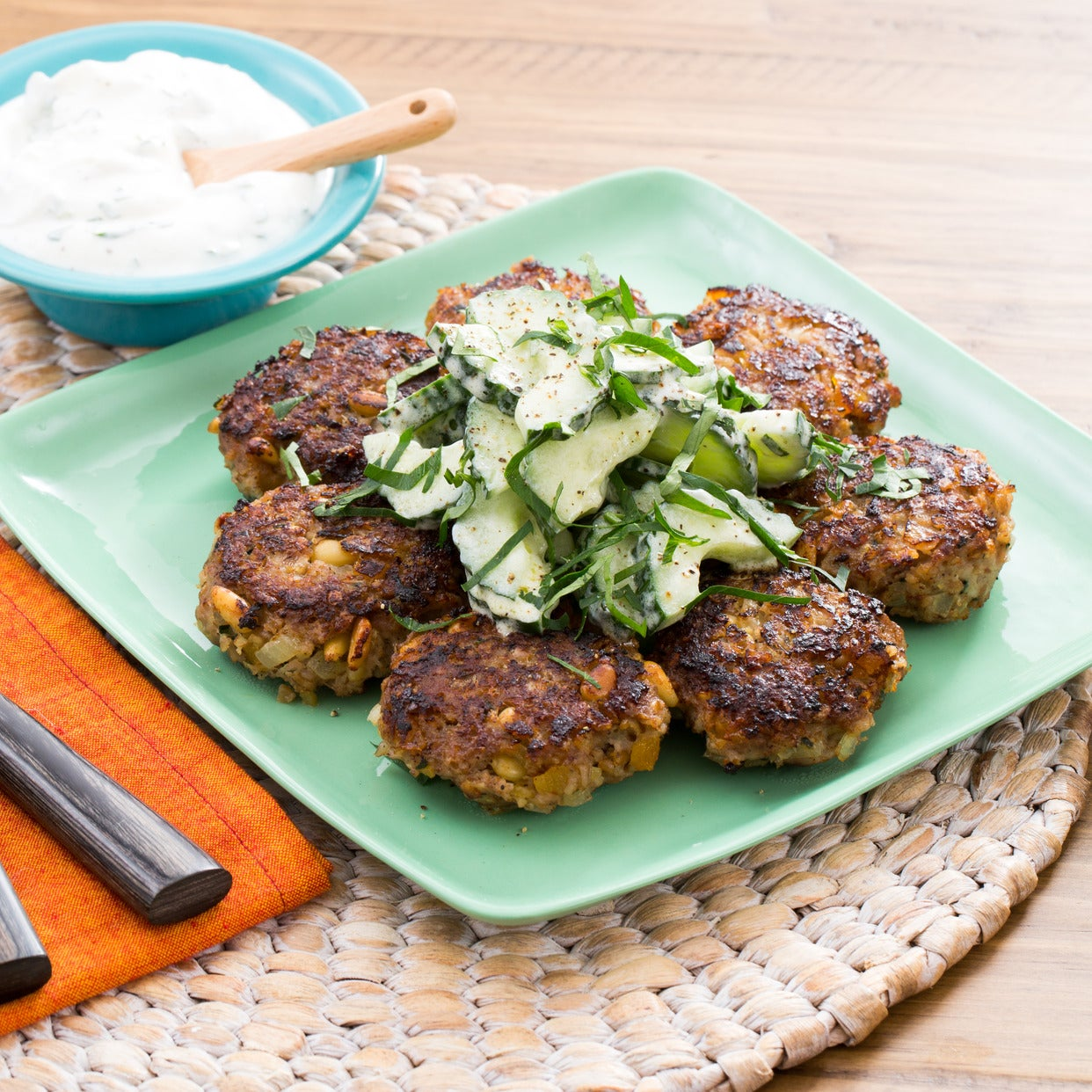 Turkey Kibbeh with Cucumber Salad & Mint-Yogurt Sauce