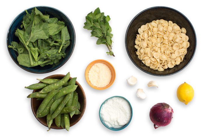 Orecchiette Pasta with English Peas, Pecorino Cheese & Mint ingredients