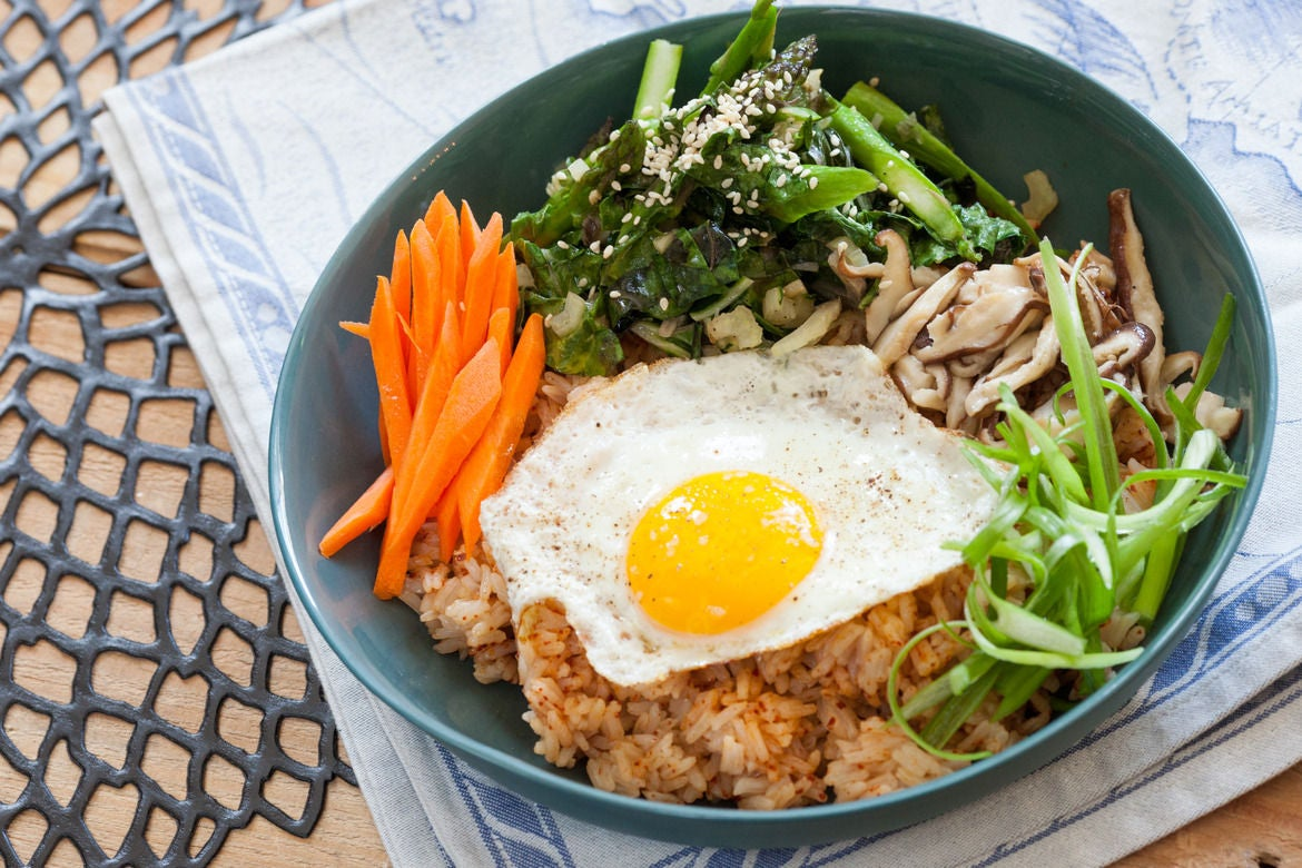 Recipe: Vegetable Bibimbap with Asparagus, Shiitake Mushrooms & Fried ...