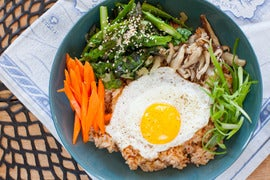 Vegetable Bibimbap with Asparagus, Shiitake Mushrooms & Fried Eggs