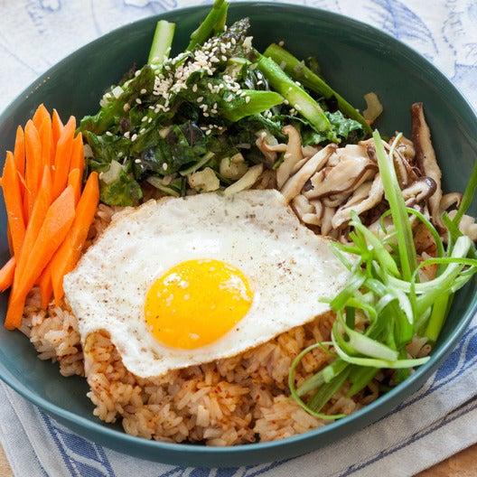 Vegetable Bibimbap with Asparagus, Shiitake Mushrooms & Fried Eggs