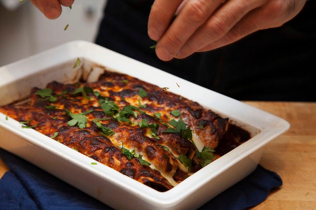 Bake the enchiladas & serve: