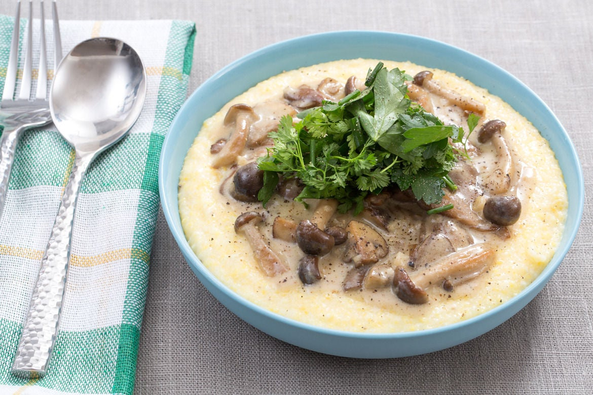 Stewed Mushrooms with Creamy Goat Cheese Polenta & Fresh Herb Salad