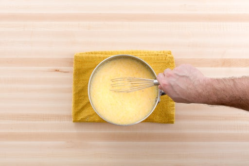 Make the goat cheese polenta: