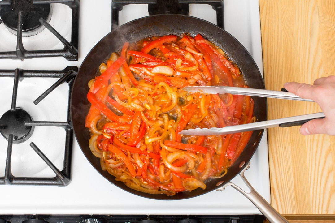 Finish the bell peppers & onion: