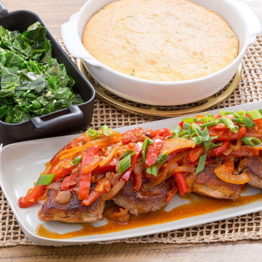 Center-Cut Pork Chops with Sautéed Vegetables & Cheddar-Scallion Cornbread