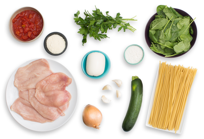 Chicken Parmesan with Fresh Mozzarella & Spinach-Zucchini Pasta ingredients
