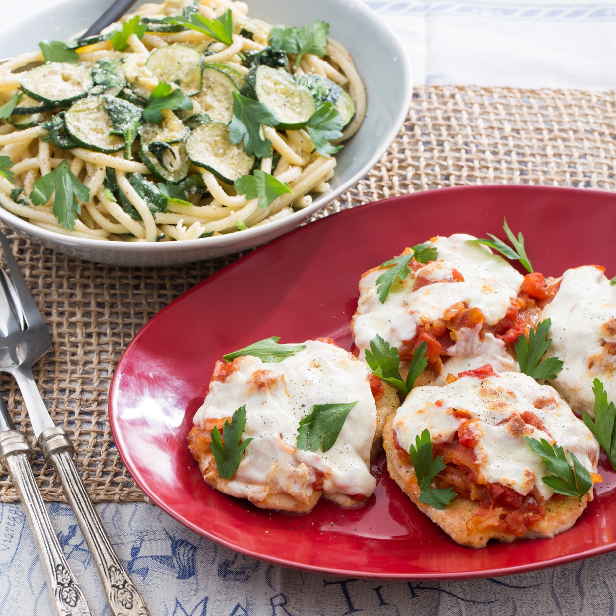 Chicken Parmesan with Fresh Mozzarella & Spinach-Zucchini Pasta