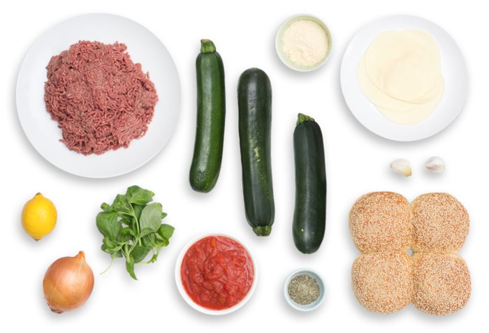"""Pizza Burgers with Garlic-Parmesan Zucchini """"Fries"""" ingredients"""