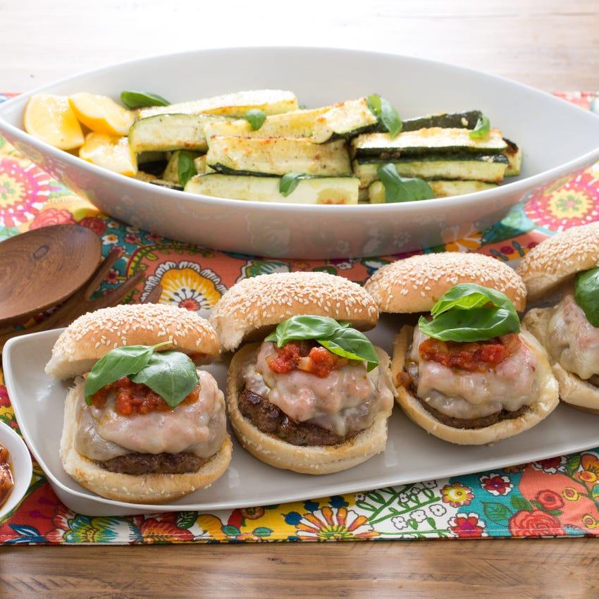 "Pizza Burgers with Garlic-Parmesan Zucchini ""Fries"""