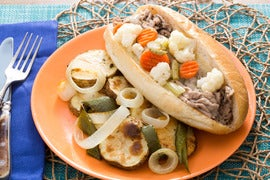 Chicago-Style Italian Beef Sandwiches with Roasted Vegetables & Giardiniera
