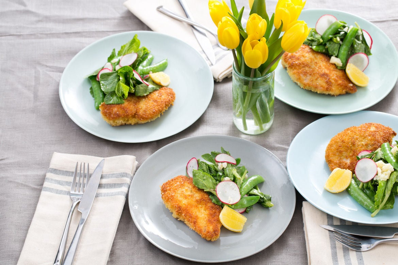 Crispy Chicken Cutlets with Sugar Snap Pea, Pea Tip & Radish Salad