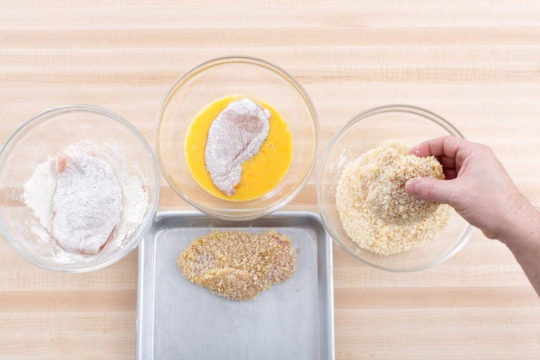 Bread the chicken: