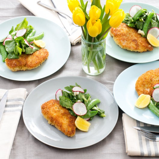 Crispy Chicken Cutlets with Sugar Snap Pea, Pea Tip & Radish Salad