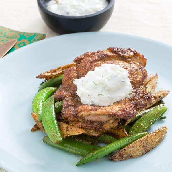 Curry-Spiced Chicken Thighs with Sugar Snap Peas & Fingerling Potatoes